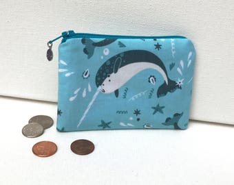 Happy Narwhal - Money Pouch or Coin Purse - ADORABLE