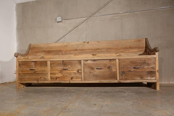 Reclaimed solid wood raw wax finish dining / entry /bedroom/footboard storage drawer bench