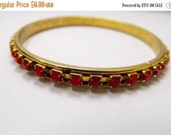 ON SALE Vintage Prong Set Red Rhinestone Bangle Bracelet Item K # 276