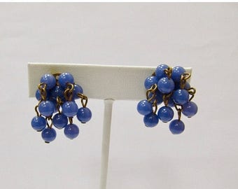 ON SALE Vintage Blue Beaded Cha Cha Style Earrings Item K # 1016
