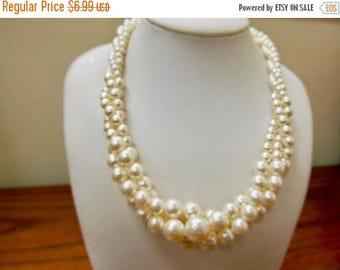 ON SALE Retro Multi Strand Faux Pearl Necklace Item K # 1163