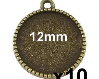 10 blank pendant bronze mod640 12mm cabochon