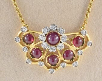 Exclusive retro 3.00 Ct natural ruby and diamond necklace