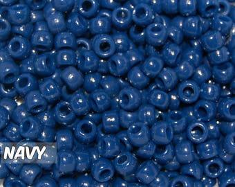 Navy Opaque 6x9 mm Barrel Pony Beads