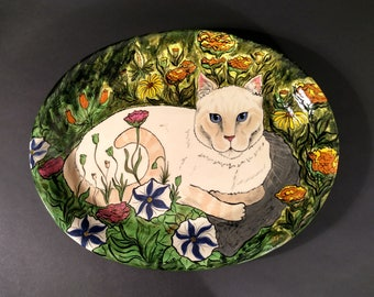 Cat In The Garden Platter made and painted by Nina Lyman of Cats By Nina