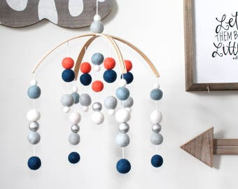 Navy Coral SILVER Felt Ball Mobile, Baby Mobile, Crib Mobile, Nursery Cot Mobile, Pom Pom Mobile, Nursery Mobile, Gender Neutral