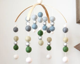 Blue Green SILVER Felt Ball Mobile, Baby Mobile, Crib Mobile, Nursery Cot Mobile, Pom Pom Mobile, Nursery Mobile, Gender Neutral