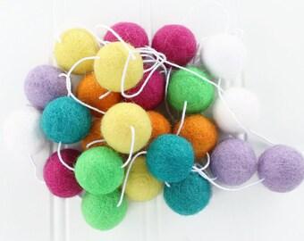 Bright Rainbow Felt Ball Garland, Rainbow Pom Pom Garland, Nursery Decor, Summer Garland, Kids Room Garland, Bright Colors, Felt Balls