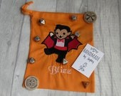 Personalised Dice Bag, Choose your picture, add your name, Orange, Tardis, Unicorn, Zombie, Kitty, Vampire, Goblin, Cthulhu, dragons, fairy