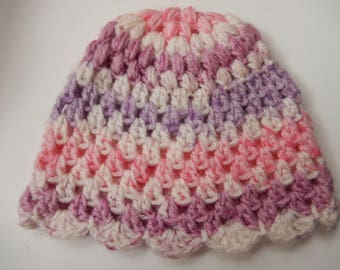 crochet baby girl hat / baby cap /  hand made / multi color girls hat / 0-3 month cap