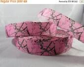 Pink Camo grosgrain ribbon, Hunting Ribbon, 7/8 Inch Ribbon by the yard, Girl Camo Ribbon, RN17010