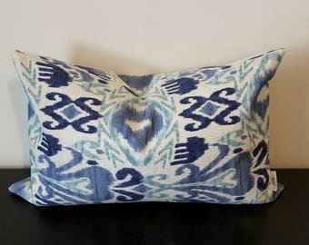 Decorative Throw Pillow, Richloom Blue Ikat Lumbar Pillow Cover, Toss Pillow, Accent Pillow, Sofa Pillow Cover, 12x16, 12x18,Sofa Pillow