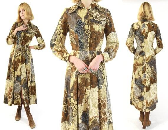 Vtg 70s Tie Dye Psychedelic Earthtone Maxi Dress S