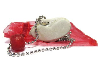 Slate Stone Heart 30 In Necklace, Natural Heart Stone, Cherry Red Glass, Recycled Glass, Stainless Steel, Lake MI Stone, Red Organza Pouch