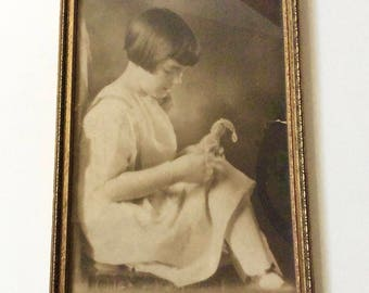 Antique Carved Wood Frame with Vintage Child Portrait in Soft Sepia Tones, Nostalgia Yesteryear Decor