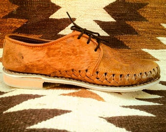 SALE Tooled Leather Mayan Shoes Made in Mexico Authentic Huaraches Unisex 7/7.5, 8/8.5, 9/9.5, 10/10.5, 11/11.5