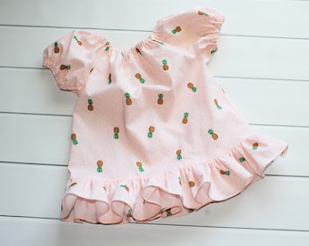 Back to School Blouse - Summer Top - Toddler Peasant Blouse - Ruffle Blouse - Pineapple Peach Blouse - Girls Boutique Blouse - Girls Fashion