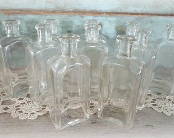 clear bottle lot (10) collection wedding reception tables antique glass vintage clear bottles old bottles wedding decor vintage home decor