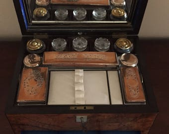 Antique Traveling Burled Stationary Box