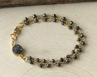 Pyrite Gold Bracelet, Druzy Bracelet, Rosary Chain Bracelet, Triple Strand Bracelet, Stacking Bracelet, Boho Jewelry, Gemstone, Gift for Her
