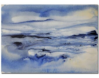 """Landscape Painting 11""""X8.5"""" Original Watercolor painting by T Ruzin, White, Blue, Abstract, Original Art, Christmas Gift Ideas, Husband Gift"""