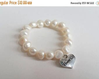 ON-SALE Flower Girl Bracelet - Freshwater Pearl with Flower Girl Charm, Bridal Party Gift, Gift, Wedding Jewelry - Stretchy Bracelet