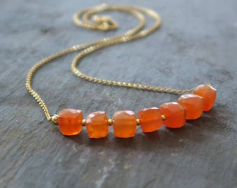 Carnelian Cube Necklace | Retro Necklace | Carnelian Bead Necklace | Cube Beads | Carnelian Jewelry | Carnelian Jewellery | Orange beads