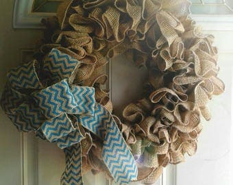 RUSTIC EXTRA FULL Ruffled Burlap Wreath
