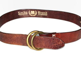 Lucky Brand belt. Boho leather belt. Hand sewn belt. Hand finished Italian leather. Brown leather belt. Size 32 belt. Rings buckle belt.