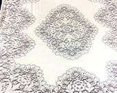 "QUAKER LACE Vintage White Cotton Lace Tablecloth   76"" x 65"""
