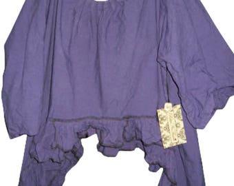 Mauve Purple Artist shirt smock top linen asymmetric hem long sleeves OSFA boho funky quirky lagenlook RitaNoTIara Southern Gothic chic