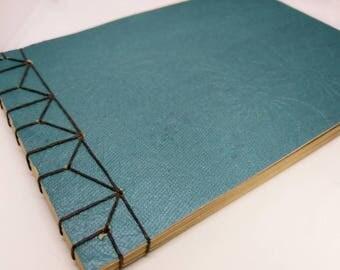 Turquoise Japanese Hemp Leaf Stab Binding Sketchbook Journal Notebook Album Book Medium