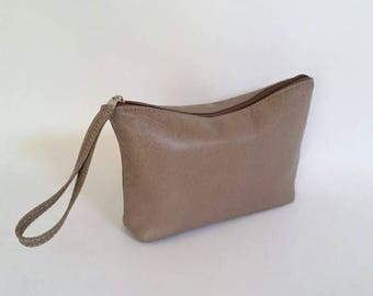 ON SALE Sand Leather Clutch Bag with Wrist Strap, Fashion Wristlet Bags, Casual Women Pouch, Cosmetic Purse, Cosmos