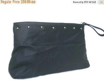 ON SALE Leather Bag, Fashion Purse, Stylish Handbag with Silver hardware, Blue Clutch Handbag, Ivanka