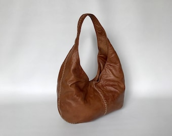 Brown Leather Hobo Bag with Braided Design, Female Handbags, Ladies Bag, Alison