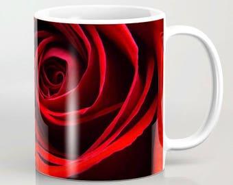 Coffee Mug, Red Rose Coffee Cup, Photo Mug, Ceramic Mug, Flower Mug, Flower Photography