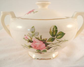 Vintage Shabby Sugar Bowl Canonsburg China Pink Rose Bouquet Shabby Cottage Chic