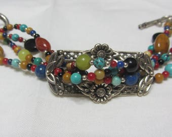 "Beautiful "" BARSE "" Four Strand Gemstone Bracelet Sterling Silver Frame"