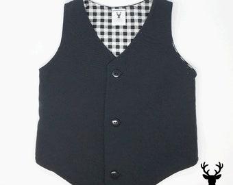 Boys Formal Wear Black Vest, Toddler Black Vest, Rustic Wedding Vest, Ring Bearer Outfit, Boys Wedding Vest, Baby Wedding Vest, Boyish Charm