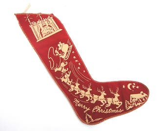 Vintage c1930s Christmas Stocking . Santa Claus . Reindeer . Fireplace . Merry Christmas .