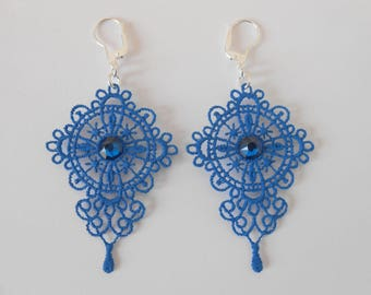 Lace earrings blue cobalt with crystal pastes of swarovski and silver ties 925