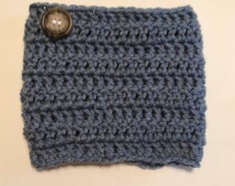 Blue Crochet Boot Cuffs