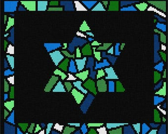 Needlepoint Kit or Canvas: Tallit Glass Borders Greens