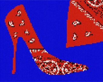 Needlepoint Kit or Canvas: Red Bandana Shoe