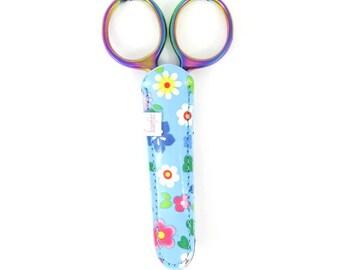 Blue Scissor Case | Embroidery Scissor Sheath, Scissor Cover for Scissors up to 5 inches long - Blue Floral