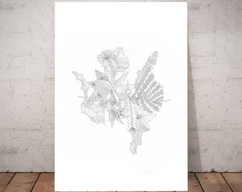 Horizon, a print from an original pen and ink line drawing by Suzanne Baxter