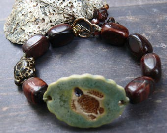 Caretta, Caretta -  OOAK artisan ceramic, tiger eye, copper and bronze turtle gemstone bracelet.
