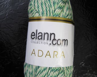 Adara Cotton/Linen Yarn by Elann.Com Green and Ivory 8 Skeins Available Color 06