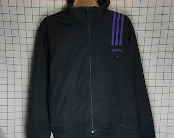 Vintage Black & Purple Classic Striped Adidas Zip Up Canvas Track Jacket