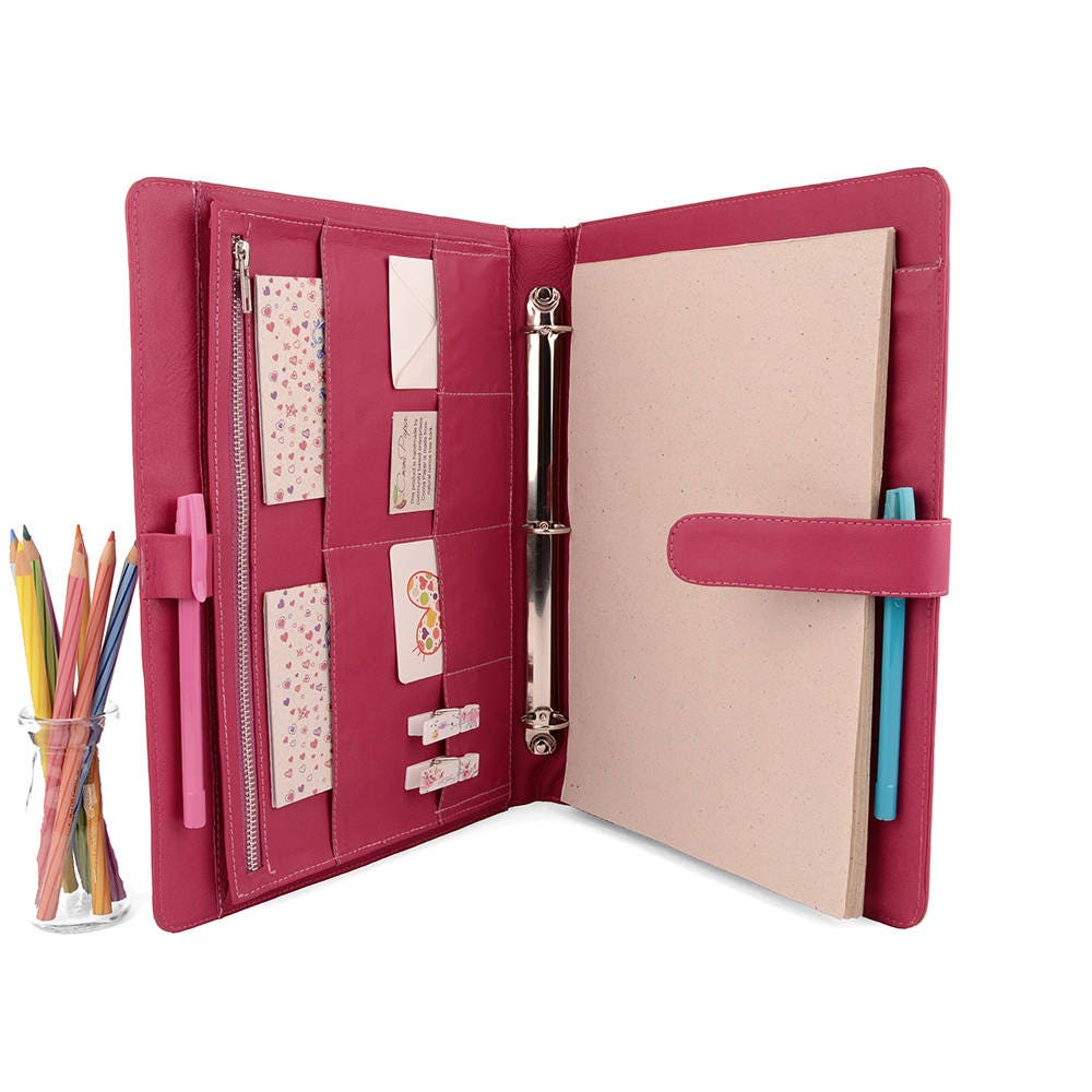 ORIGINAL A4 Leather Ring Binder Planner / Organizer 3 Or 4